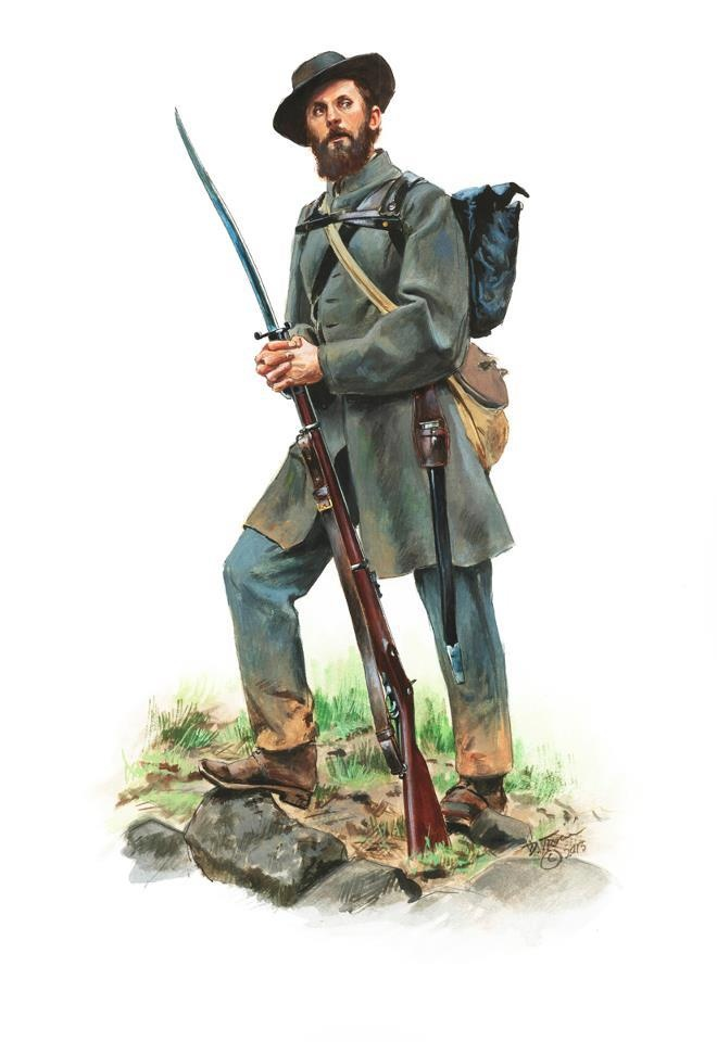 confederate soldier us civil war structural drawing
