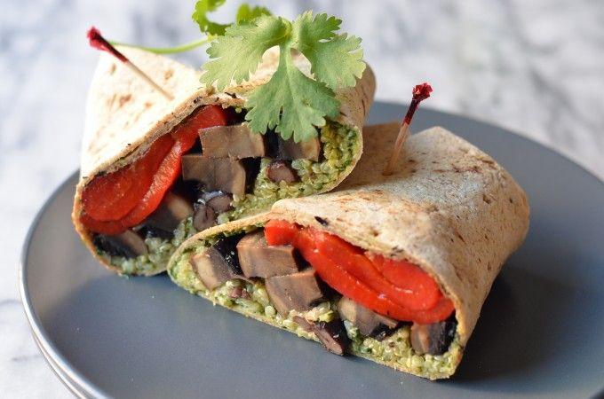 Portobello Quinoa Wraps with Cilantro Pepita Pesto