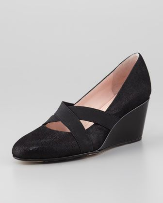 Hmmm, may try. Kimber Wrapped Suede Wedge, Black by Taryn Rose at