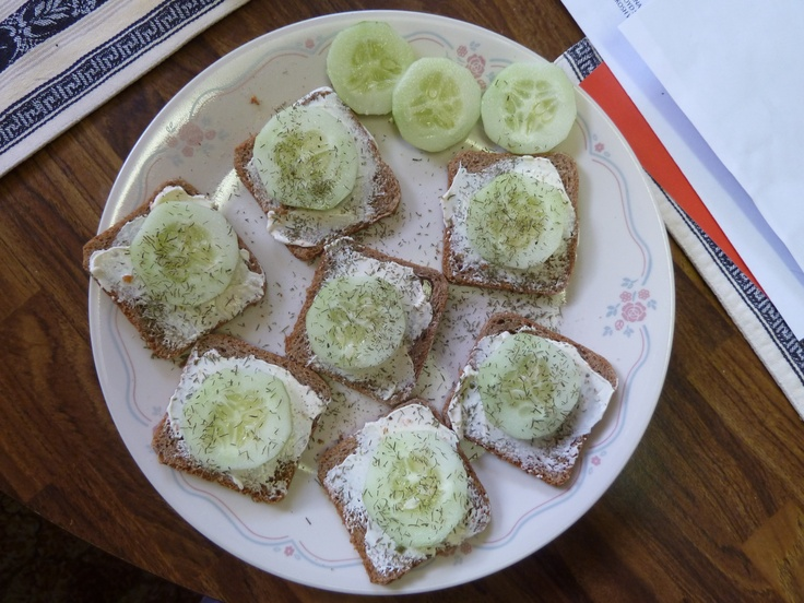 Cucumber Sandwiches for lunch -cocktail rye bread, cucumbers, dill ...
