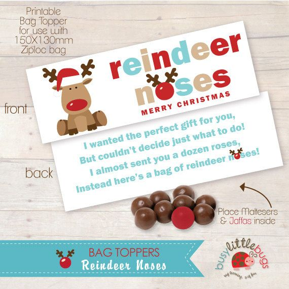 Reindeer Noses Bag Toppers AUTOMATIC by BUSYLITTLEBUGSshop on Etsy, $5 ...