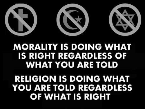 Morality vs. religion.