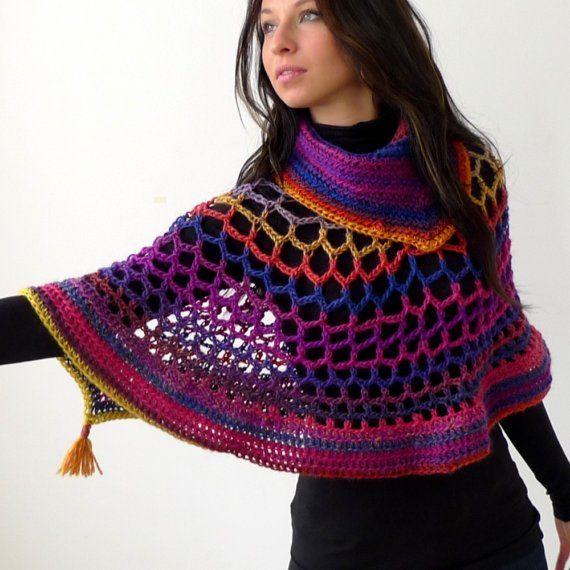 Crochet Poncho : Crochet poncho CROCHET BUFANDAS, PONCHOS Y ESTOLAS Pinterest