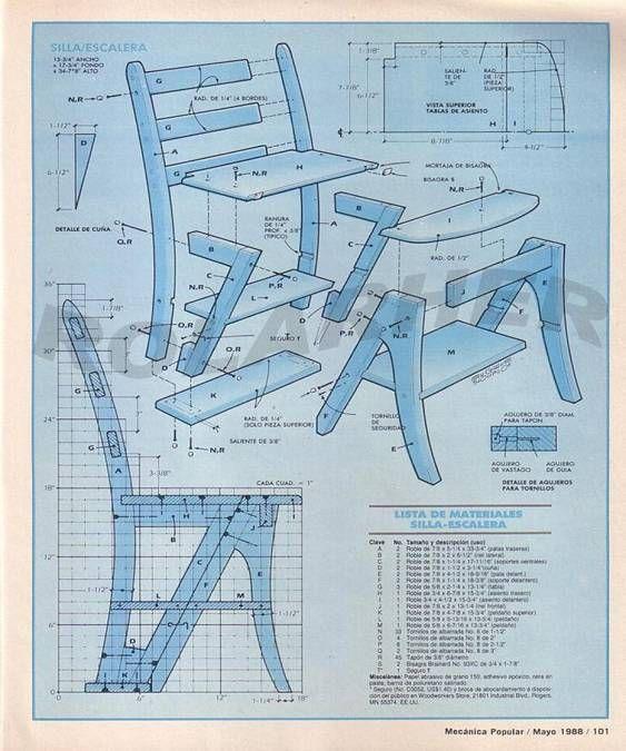 Silla escalera arquitectura decoraci n pinterest for Plano escalera madera