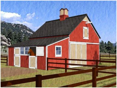 Here 39 s a small and efficient pole barn for four horses for Hay pole barns
