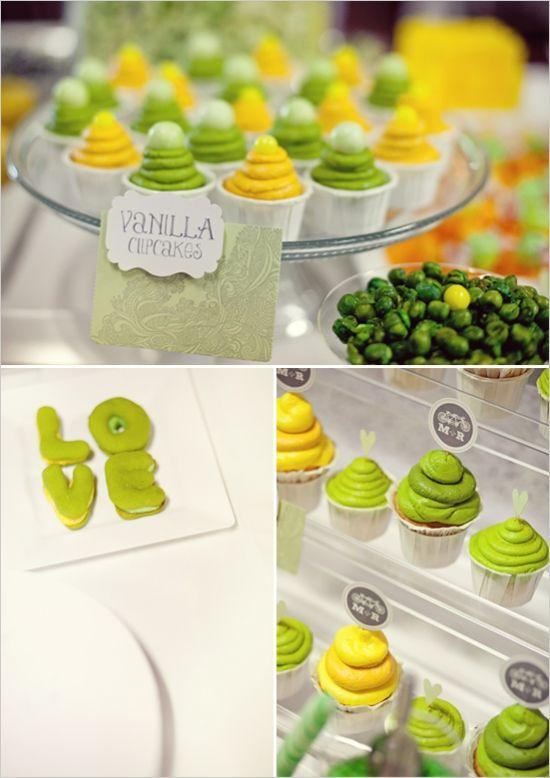 green and yellow wedding dessert ideas
