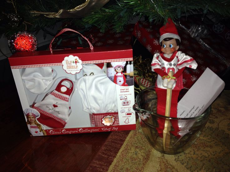 Our Elf brought a cooking set! | Elf on a Shelf Ideas | Pinterest
