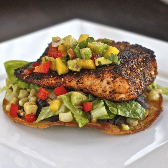 Chili Rubbed Salmon And Grilled Corn Tostada With Mango Avocado Salsa ...