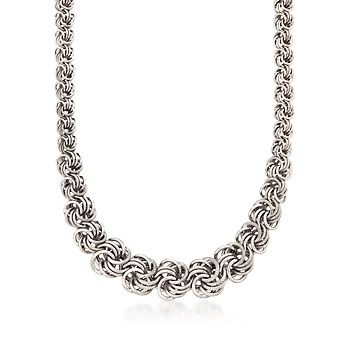 Italian Graduated Sterling Silver Rosette Necklace