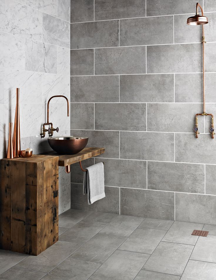 Grey tile floor and wall colour