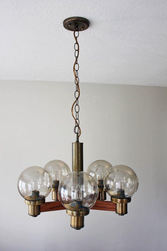Mid Century Atomic Wood and Brass Glass Globe Chandelier ...
