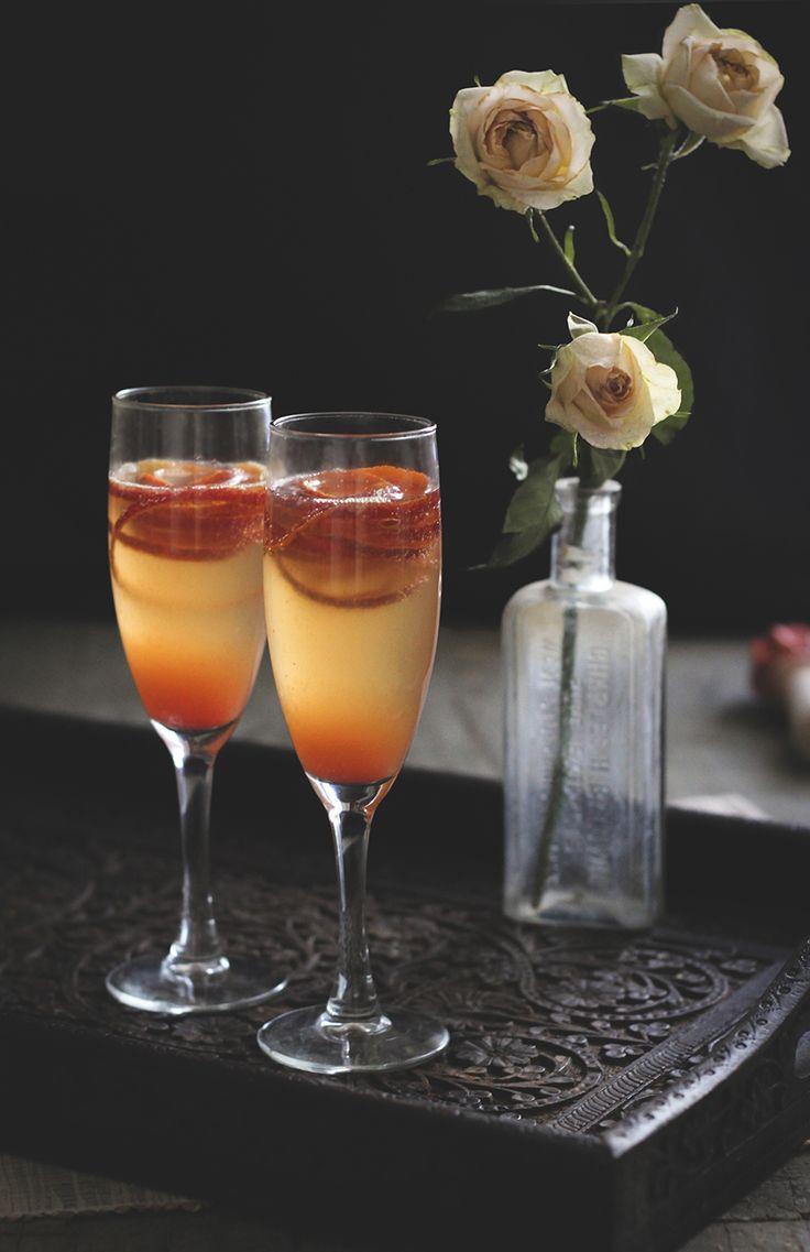 Blood Orange French 75: gin, blood orange juice, simple syrup ...