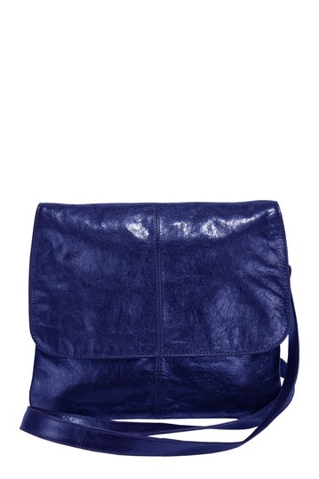 Blue Leather Crossbody Bag.