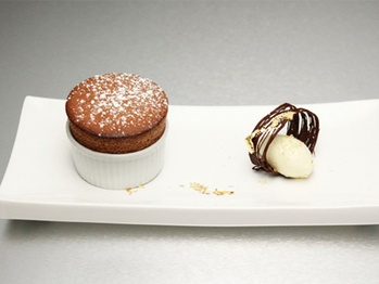 Chocolate Souffle with passion fruit and vanilla bean ice cream