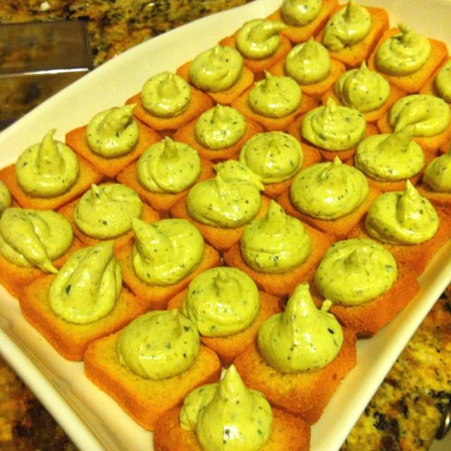 Pesto Cheese Crostini Recipe — Dishmaps