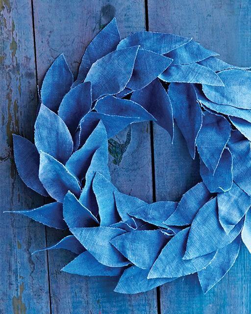 Blue Winter Linen Wreath