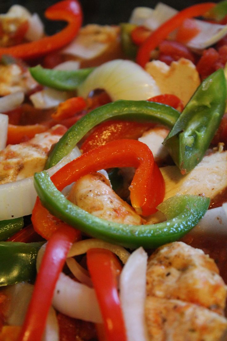 ... green chilies, 1/2 green bell pepper cut into strips, 1/2 red bell