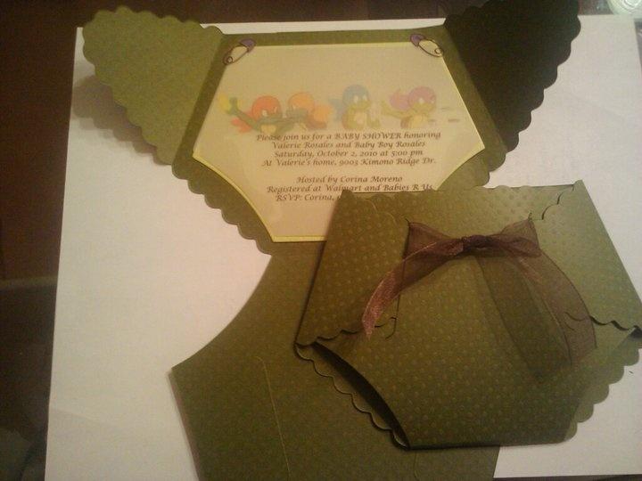 ninja turtles diaper baby shower invites baby boy pinterest