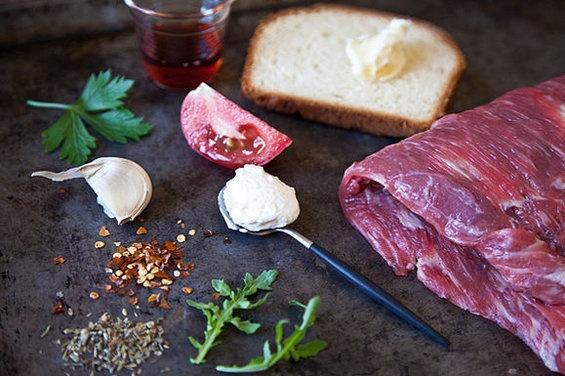 Flank Steak On Texas Toast With Chimichurri Recipe — Dishmaps