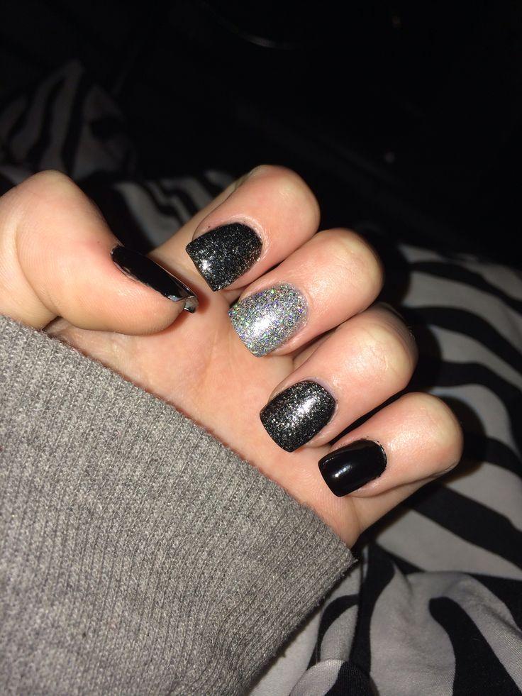 Black and silver acrylic nails