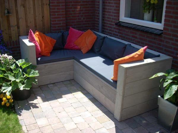 Steigerhout Loungeset  Balcony ideas....balkon ideeën  Pinterest
