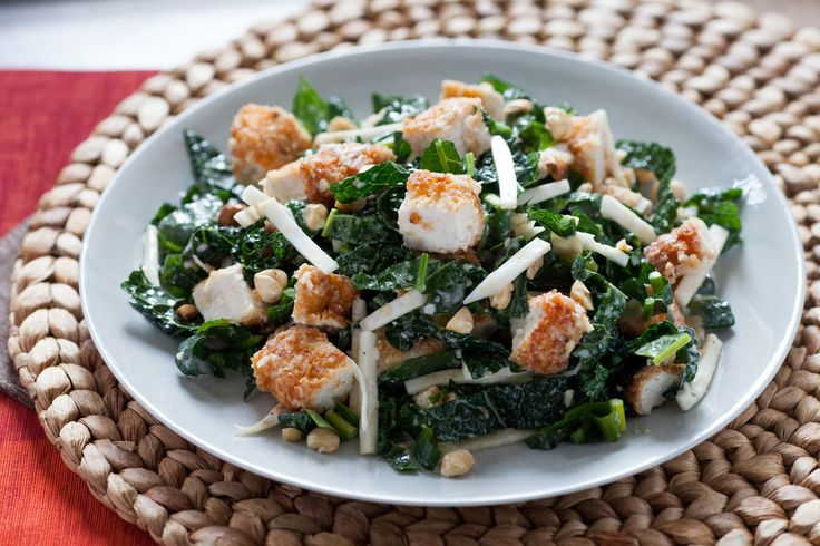 Parmesan-Crusted Chicken with Kale Caesar Salad and Toasted Hazelnuts ...