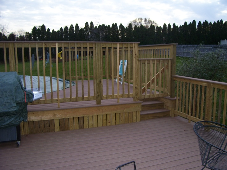 Two Tier Deck Around The Pool Composite Decking And