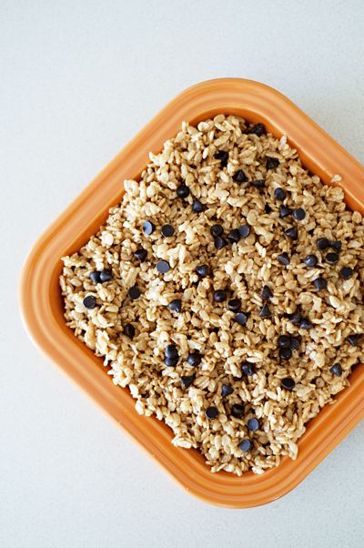Healthy peanut butter brown rice crispy treats. No marshmallows or ...