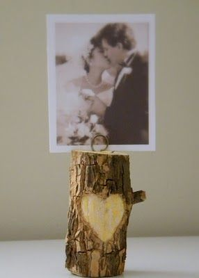 Log photo holder- you could carve initials too!