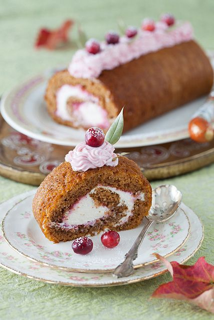 Rolled Pumpkin Spice Cake with Cranberry Jam, Grand Marnier Syrup and ...