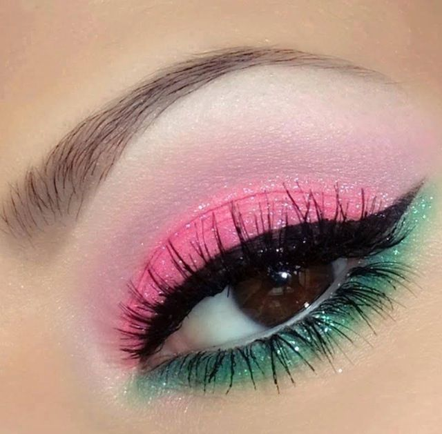 pink and green eye makeup glam hair and make up. Black Bedroom Furniture Sets. Home Design Ideas