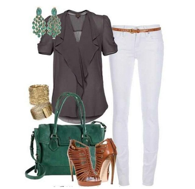 Green & grey outfit | Outfits