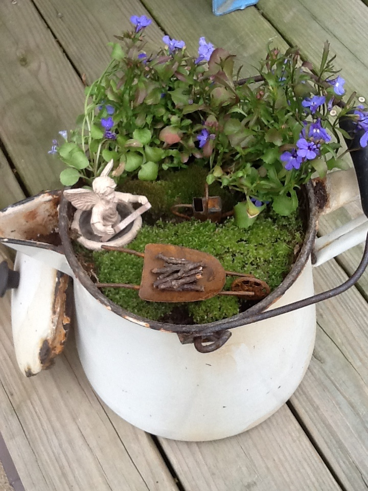 Just about any container can do fairy gardens pinterest for How to make a fairy garden container