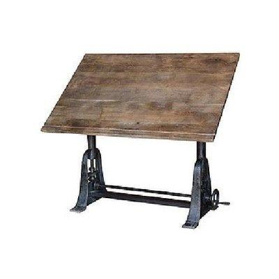 Large industrial drafting table vintage wood solid iron vintage finish