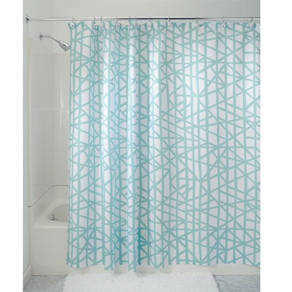lino aqua blue microfiber shower curtain by interdesign