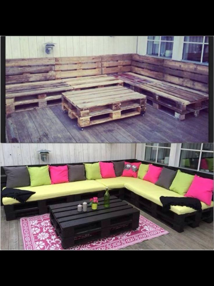 Pallet patio furniture home stuff pinterest for Pallet patio couch