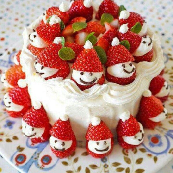 Strawberry Santa Cake Christmas Ideas Pinterest