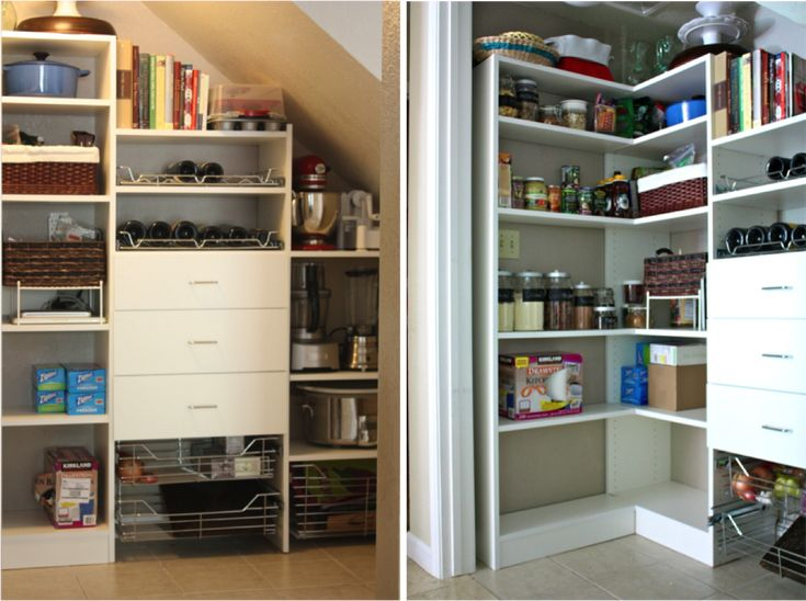 Love this under the stairs pantry.