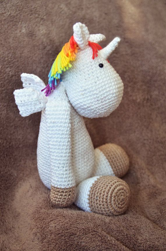 Crochet Unicorn Doll : Unicorn Crochet Plush Doll by FuarannaCrafts on Etsy