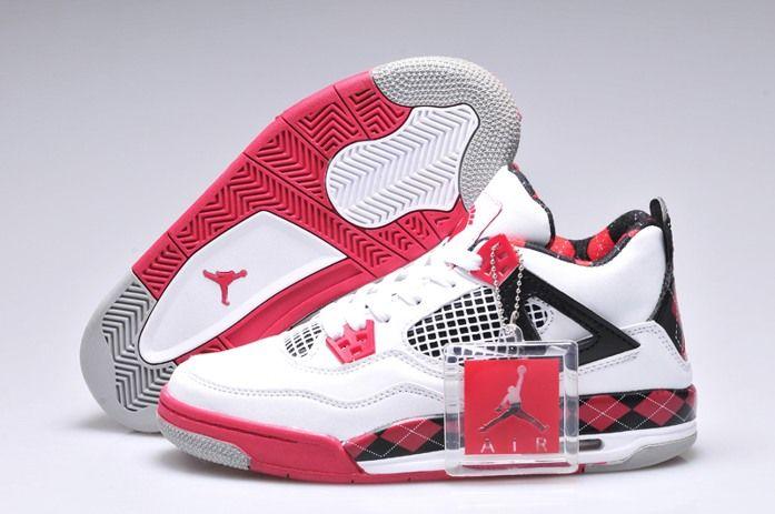 Nike Air Jordan 4 IV Free Womens Shoes White Black Red