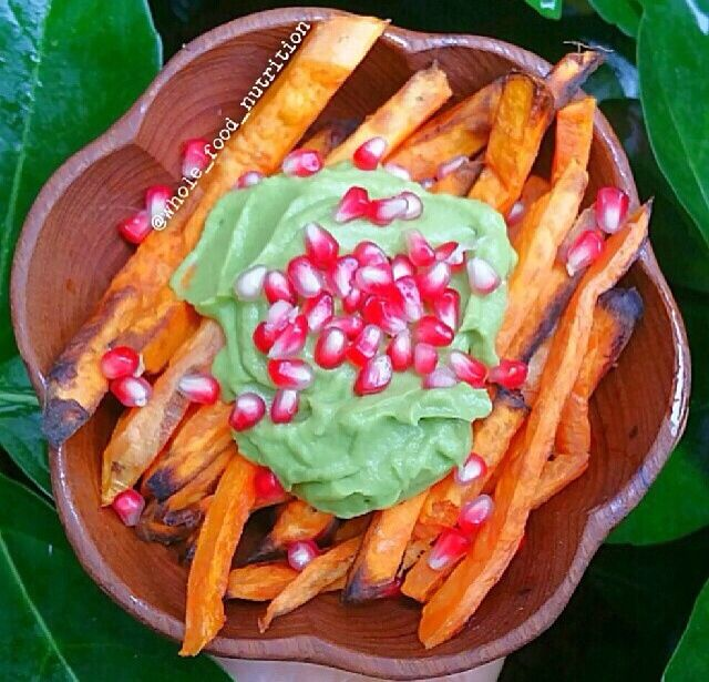 Baked Sweet Potato Fries with Avocado Cream & Pomegranate - for cream ...