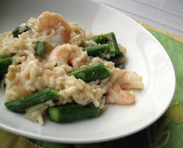 Shrimp Risotto with Goat Cheese, Asparagus and Lemon