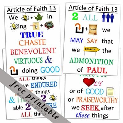 Breathtaking image within 13 articles of faith printable