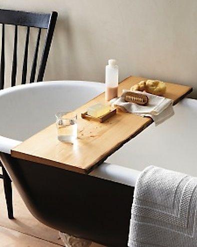 diy bathtub tray/desk from a wood board