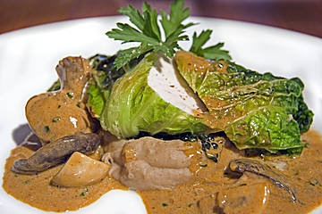 ... in Savoy Cabbage Leaves with Chestnut Purée and Mushroom Sauce