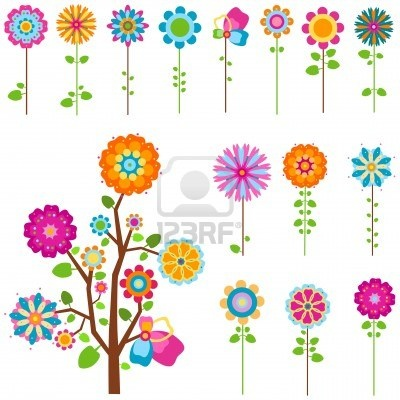 colorful retro flowers