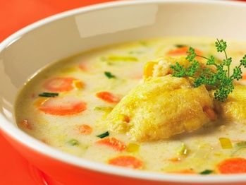 "Carrot, Celery and Leek Soup with Cornbread Dumplings"" from Cookstr ..."