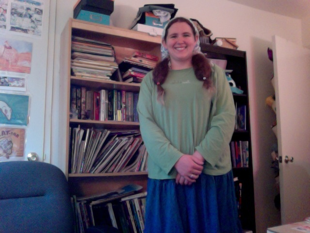 Modern with puffy pigtails adventures in quaker plain dress
