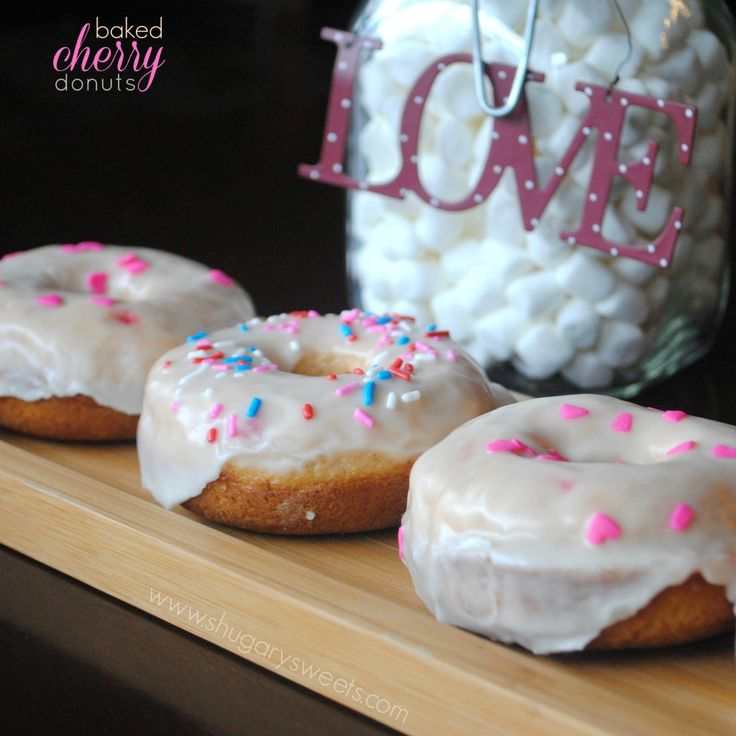 Baked Cherry Donuts with sweet Vanilla Glaze. And sprinkles, of course!