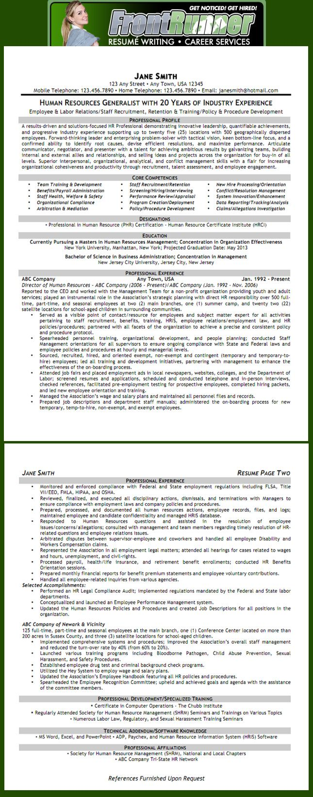 human resource generalist resumes